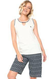 Pijama Pzama Estampado Azul/Off-White