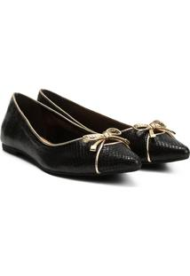 Sapatilha Couro Shoestock Bico Fino Textura Feminina - Feminino-Preto