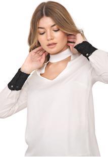Blusa Calvin Klein Recortes Renda Off-White/Preta