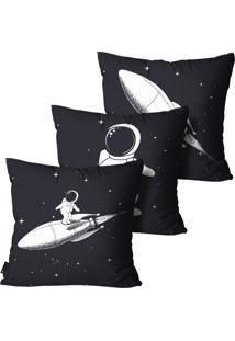 Kit Mdecore Com 3 Capas Para Almofada Inf Astronauta Preto 45X45Cm