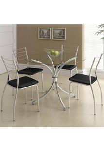 Mesa 375 Cromada Com 4 Cadeiras 1700 Preta Carraro