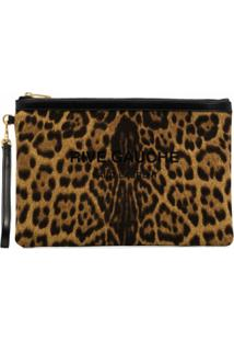 Saint Laurent Clutch Rive Gauche Com Estampa De Leopardo - Marrom