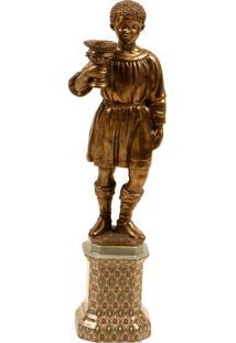 Castiçal De Porcelana Montjuic Com Escultura De Bronze