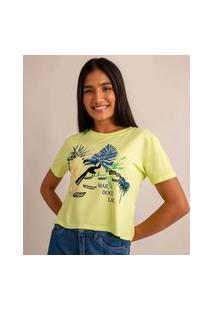 "Camiseta Cropped De Viscose ""Mar Doce Lar"" Manga Curta Decote Redondo Amarelo Neon"