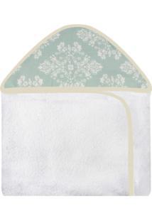 Toalha De Banho C/ Capuz Estampado Laura Baby Provençal Verde
