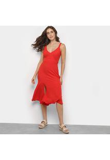 Vestido Mercatto Babado Fenda - Feminino-Vermelho
