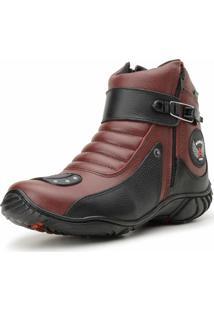 Bota Cano Curto Em Couro Atron Shoes Preto/Vermelho