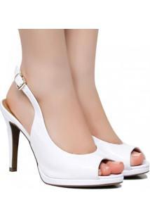 Scarpins Zariff Shoes Chanel Fivela Feminino - Feminino-Branco