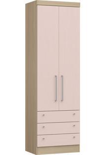 Modulo Com 2 Portas E 3 Gavetas Infinity 3821A-Castro Móveis - Nogueira / Rosa Blush