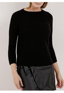 Blusão De Tricot Feminino Preto