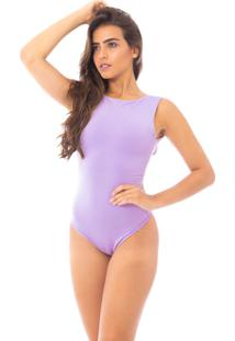Body Moda Vicio Regata Com Decote Costas Lilas