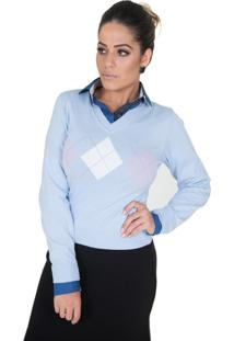 Suéter Damer Azul Geométrica