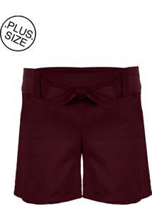 Shorts Outletdri Bengaline Plus Size Cós Alto Bolso Laço Frontal Vinho