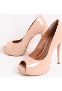 571f31de85 ... Sapato Feminino Peep Toe Envernizado Satinato
