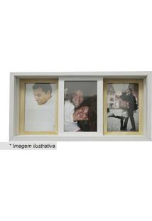 Painel Slide Para 3 Fotos- Branco & Marrom Claro- 19Kapos