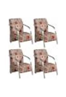 Conjunto De 4 Poltronas Sevilha Decorativa Braço Alumínio Cadeira Para Recepção, Sala Estar Tv Espera, Escritório - Poliéster Estampa 300
