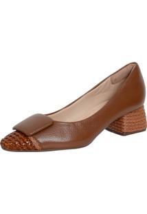 Sapato Laura Prado Confort Salto Quadrado Caramelo