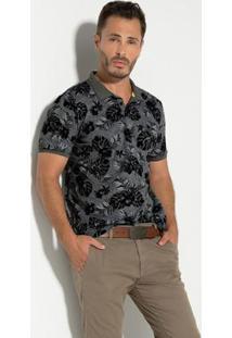 Camisa Polo Vitrine Casual Meia Malha Mescla - Masculino-Cinza+Preto