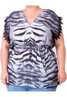 Blusa Animal Print Com Renda Plus Size Feminina - Feminino-Preto+Branco