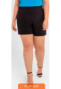 Shorts Básico Com Zíper Preto