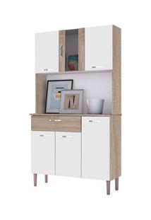Kit Cozinha Compacta Armário Pan 06 Portas Nogal/White/Nogal - Kit'S P