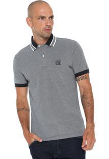 Camisa Polo Tommy Hilfiger Reta Oxford Cinza