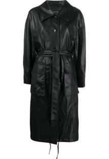 Low Classic Belted Faux Leather Trench - Preto