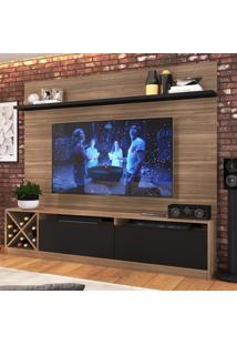 Rack Com Painel Para Tv Até 60 Polegadas 2 Portas 2023 Mn/Ptx Montana/Preto - Quiditá Móveis