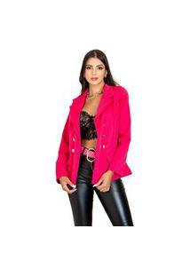Blazer Alongado Feminino Max Acinturado Cores 2021 Ref 777 Tipo Balmain Rosa Colorido