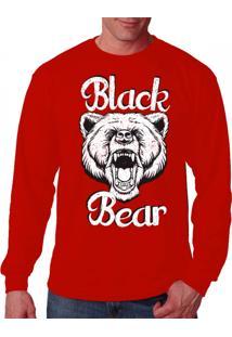 Camiseta Manga Longa Black Bear Urso Vermelho