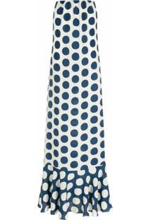 Adriana Degreas Vestido Longo De Seda Pois - Azul