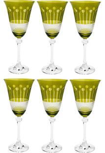 Jogo De Taças Para Vinho 6 Peças 350Ml Alexandra - Bohemia - Verde
