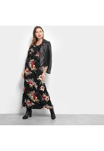 Vestido Pérola Longo Floral - Feminino-Preto+Vermelho