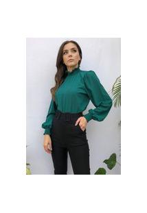 Blusa Hora De Diva Bufante Gola Verde Esmeralda
