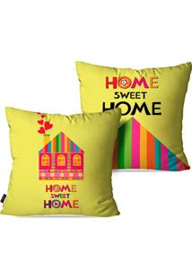 Kit Com 2 Capas Para Almofadas Pump Up Decorativas Home Sweet Home 45X45Cm