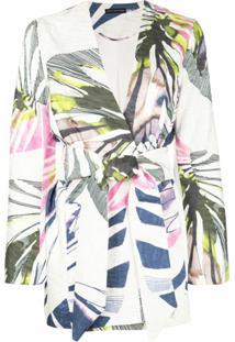 Josie Natori Blusa De Jacquard 'Botanical Palm' Com Cinto - Branco