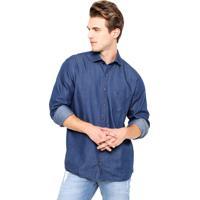 0a7d498ee2a5f Camisa Jeans Dudalina Reta Bolso Azul