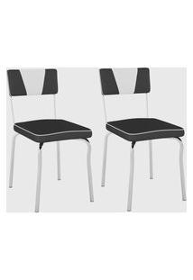 Kit Com 2 Cadeiras Retrô Material Sintético Preto/ Det Branco/Cromado Pozza