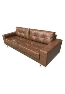 Sofa Fashion Courino Marrom Base Cromada 1,60 Mt (Larg) - 51742 Marrom