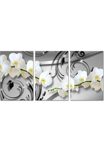 Quadro Oppen House 40X90Cm Orquídea Silver Luxury Flores Brancas