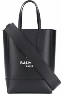 Balmain Bolsa Tote Pequena Com Estampa De Logo - Preto