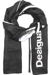 Lenço Desigual Rectangle Flo Preto
