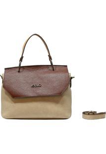 Bolsa De Couro Recuo Fashion Bag Baú Bege