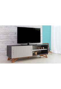 Rack Para Tv Preto Moderno Vintage Retrô Com Porta De Correr Cinza Freddie - 140X43,6X48,5 Cm