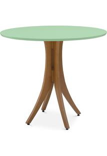 Mesa De Jantar 4 Cadeiras Redonda Juliette 90X77Cm Jatobá E Verde Sálvia
