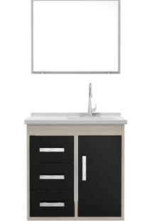Gabinete Banheiro Tampo/Vidro Canopus Com 03 Gavetas-Preto