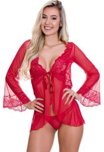 Robe De Renda Estilo Sedutor Transparente Em Tule Vermelho - Vc3329 - Vermelho - Feminino - Renda - Dafiti