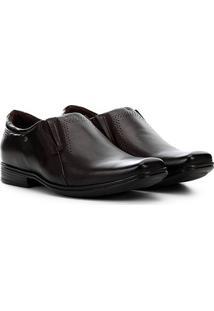 Sapato Social Couro Pegada Com Elástico - Masculino-Marrom Escuro