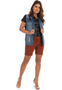 Colete Dioxes Jeans Com Estampa Feminino - Feminino