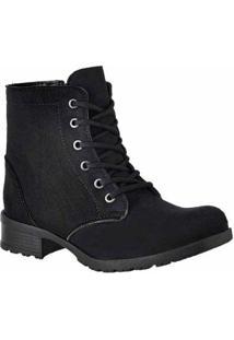 Bota Cano Curto D&R Shoes Feminina - Feminino-Preto